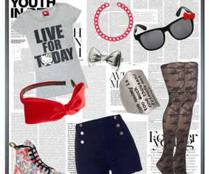 fashion, hello kitty, and Polyvore image