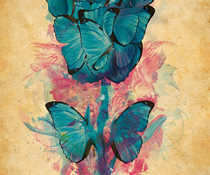 art, butterfly, and flowers image