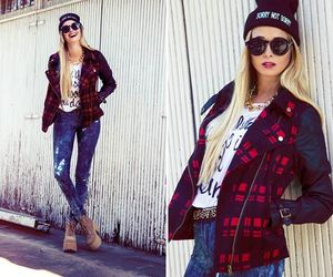 beanie, blonde, and fashion image
