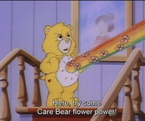 care bear, flower, and cartoon image