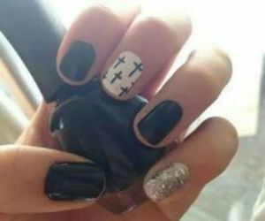 black, crosses, and glitter image