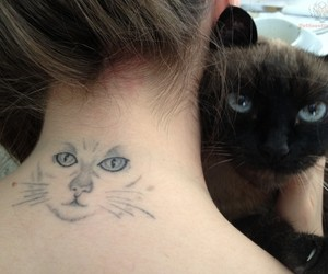 cat, tatto, and love image