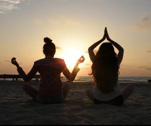 beach, fashion, and yoga image