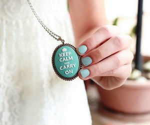 keep calm, necklace, and blue image
