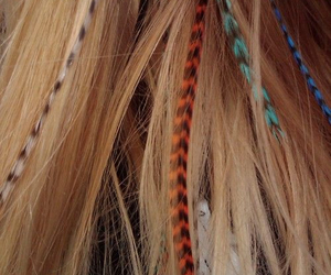 hair, feather, and blonde image