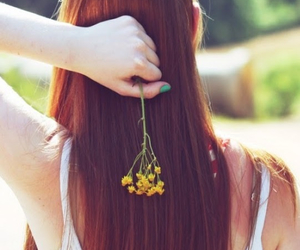 flower, girl, and hair image