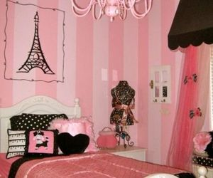 pink, paris, and bedroom image
