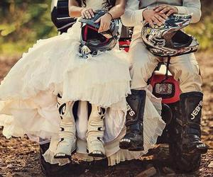 love, motocross, and wedding image