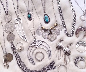 jewelry, silver, and necklace image