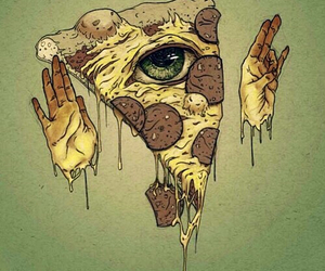 pizza, eye, and illuminati image