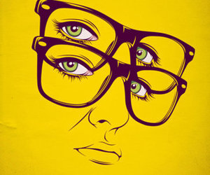 yellow, glasses, and illustration image