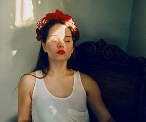 girl, indie, and flowers image