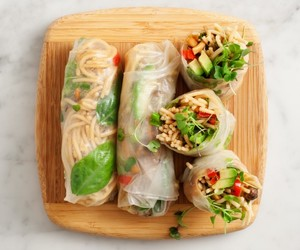 food, healthy, and spring rolls image
