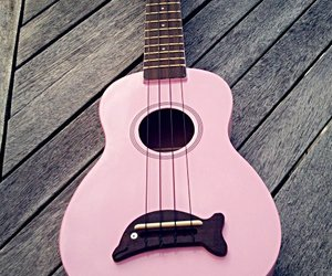 pink, guitar, and music image