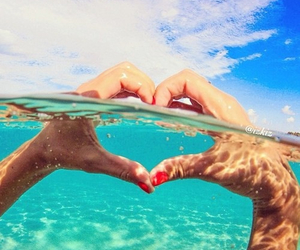 background, beach, and heart image