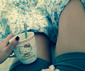 bed, kitty, and coffee image