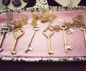 key, gold, and necklace image