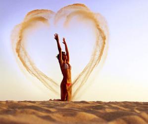 heart, girl, and sand image