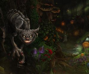alice, Cheshire cat, and wonderland image