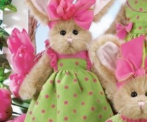 bunny, green, and pink image