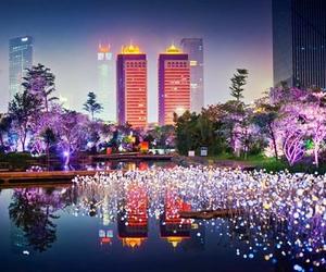 city, china, and light image
