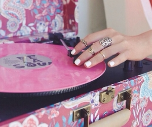 music, pink, and vinyl image