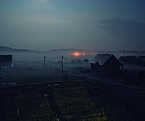 fog, light, and village image