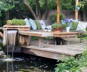 backyard, garden design, and inspiration image