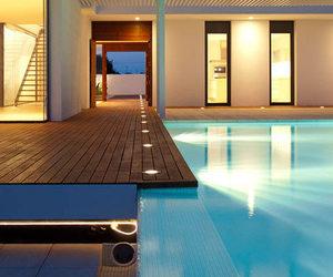 house, pool, and lights image