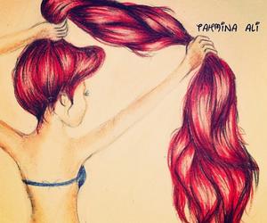 ariel, dibujo, and cabello image