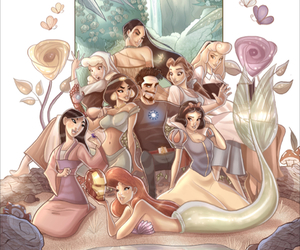 ariel, beauty and the beast, and iron man image