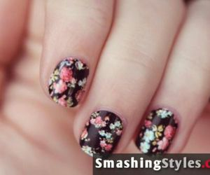 flower, nails, and polish nails image