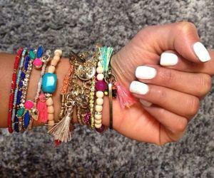 bracelets, nails, and summer image