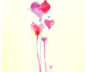 heart, hearts, and watercolor image
