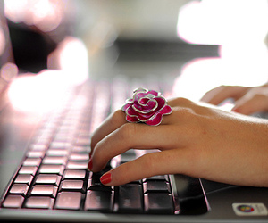 computer, cute, and flower image