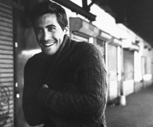 jake gyllenhaal, black and white, and smile image