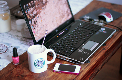 iphone, laptop, and cute image