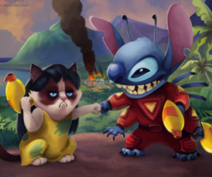 disney, grumpy cat, and lilo and stitch image