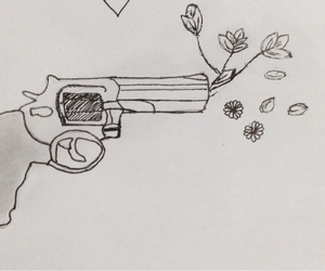 draw, flowers, and gun image