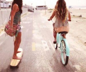 beach, best friends, and bike image