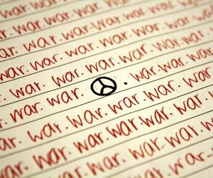 peace, war, and peace sign image