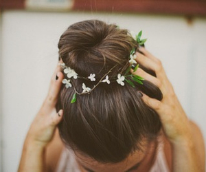 hair, flowers, and bun image