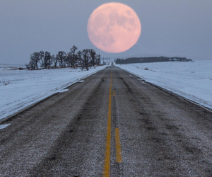 moon, road, and snow image
