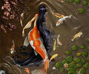 mermaid, art, and koi image