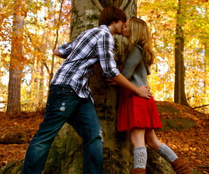 couple, kiss, and autumn image