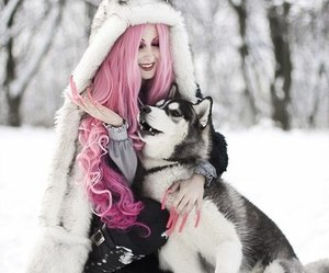 pink, girl, and snow image