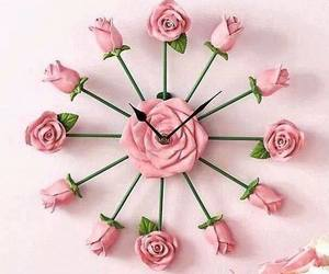 clock, rose, and pink image
