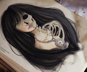 drawing, girl, and skull image