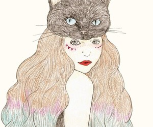 cat, drawing, and hair image