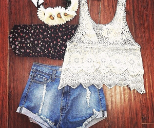 flower, hippy, and jeans image